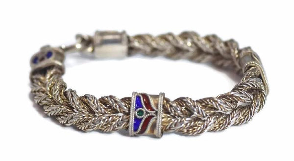 Vintage Enamel Sterling Silver Braided Bracelet 35g - Premier Estate Gallery