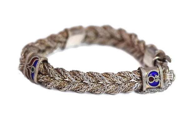 Vintage Enamel Sterling Silver Braided Bracelet 35g - Premier Estate Gallery 2