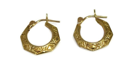 Vintage 14k Gold Etched Hoop Earrings, Small Gold Hoops Lever Back - Premier Estate Gallery 1