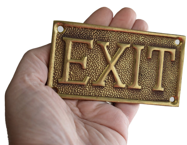 Vintage Brass ENTRANCE EXIT Reversible Brass Sign Solid Cast c1960 Great Gold Decor