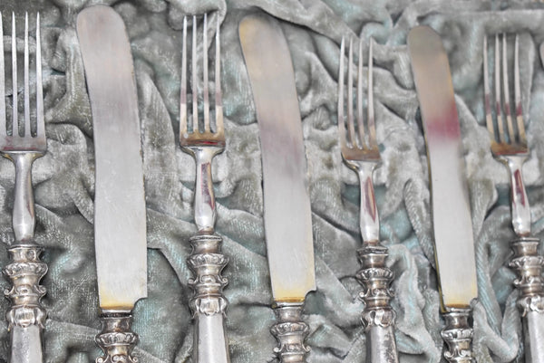 Austrian Silver Fish Cutlery Set Antique 1880s Ornate