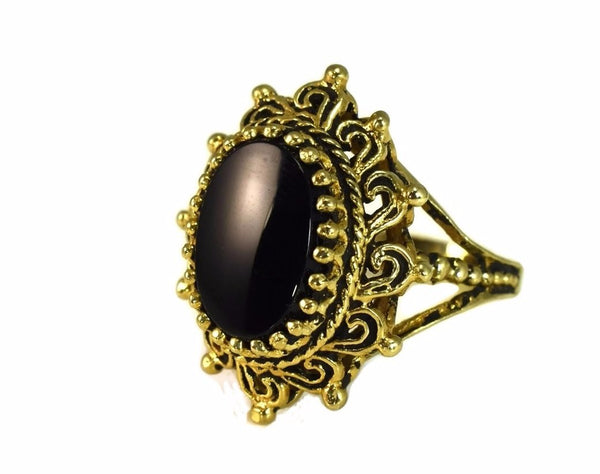 14k Onyx Sunrise Ring Vintage Bold Gold Statement Ring