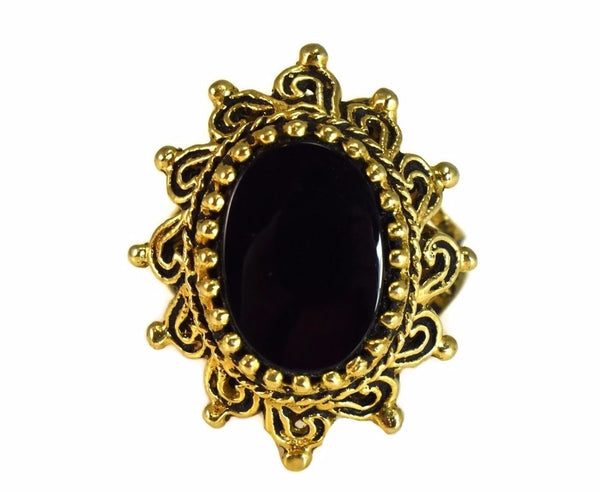 14k Onyx Sunrise Ring Vintage Bold Gold Statement Ring - Premier Estate Gallery 2