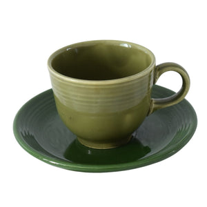 Fiesta Ware Cup and Saucer Older Colors Hard to Find Forest Green Turf Green 1951-73 - Premier Estate Gallery