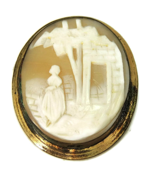 1870s Shell Cameo Brooch Large Scenic Carving Gold over Brass Needs Pin Hardware - Premier Estate Gallery  - 1
