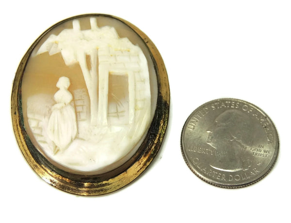 1870s Shell Cameo Brooch Large Scenic Carving Gold over Brass Needs Pin Hardware - Premier Estate Gallery  - 2