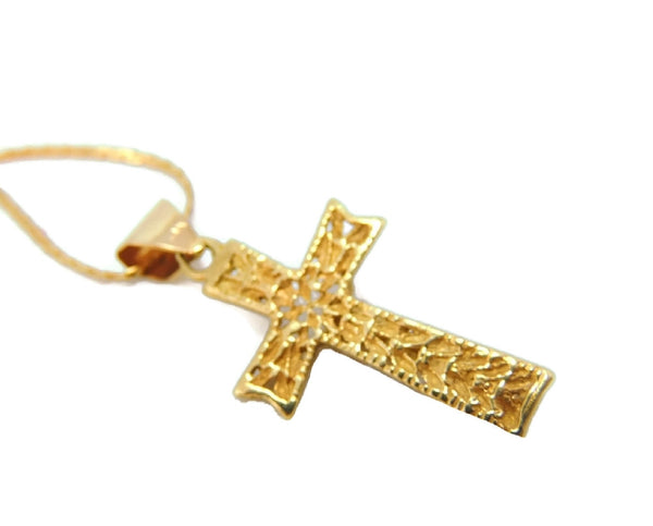 Filigree 14k Cross Necklace Vintage Gold - Premier Estate Gallery  - 3