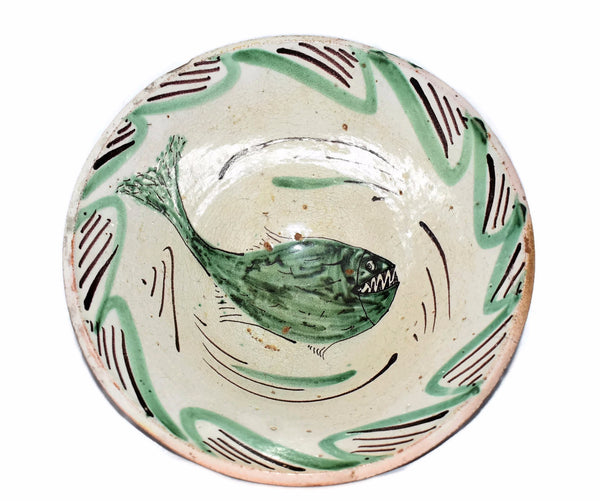 Antique Earthenware Bowl Tin Glazed with Sharp Teeth Fish c1800 Teruel Spain - Premier Estate Gallery