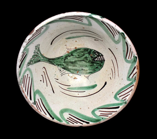 Teruel Earthenware Bowl Tin Glazed with Sharp Teeth Fish 19th Century - Premier Estate Gallery