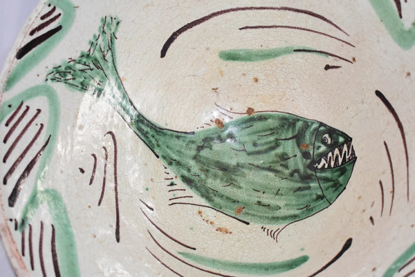 c1800 Earthenware Bowl Tin Glazed with Sharp Teeth Fish - Premier Estate Gallery
