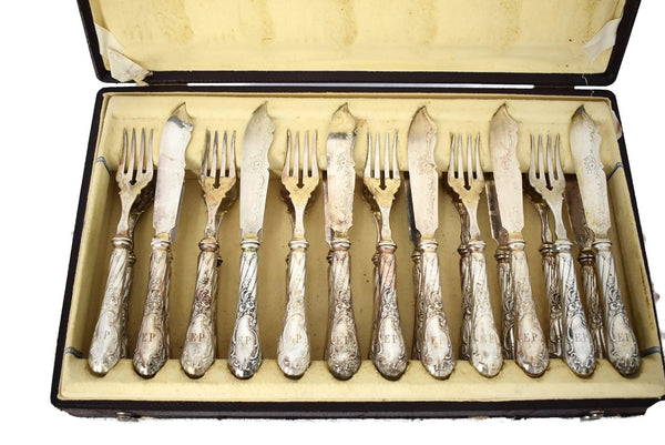 Austrian Silver Fish Cutlery Set 24 pieces Service for 12 - Premier Estate Gallery 3