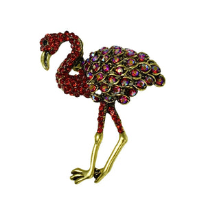 Red Rhinestone Flamingo Brooch Pave and AB Rhinestones - Premier Estate Gallery