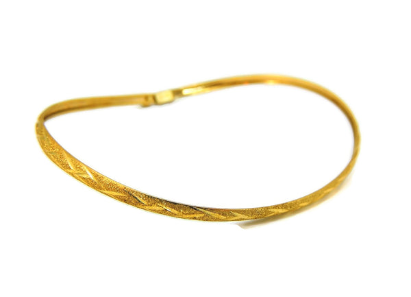 Flexible Hinged Bangle Bracelet 10k Gold Etched Design Vintage - Premier Estate Gallery  - 2
