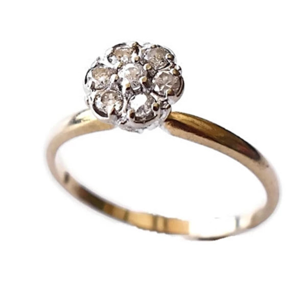Vintage 14k Gold Diamond Ring Flower Setting .35 ctw