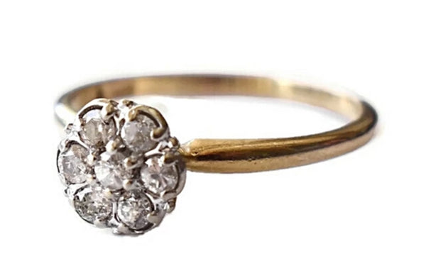 Vintage 14k Gold Diamond Ring Flower Setting .35 ctw - Premier Estate Gallery