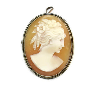 Estate Silver Cameo Brooch or Pendant 800 Silver Antique - Premier Estate Gallery