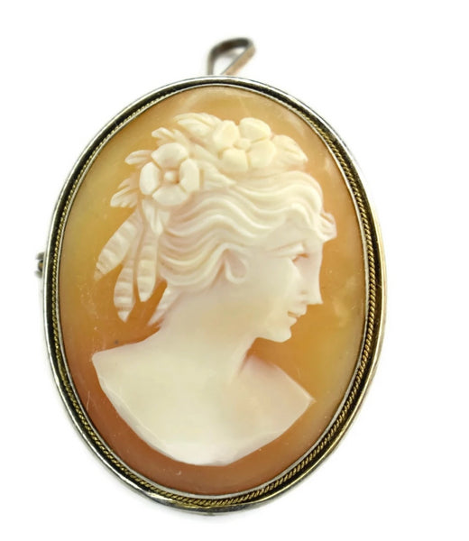 Estate Silver Cameo Brooch or Pendant 800 Silver Antique - Premier Estate Gallery 2