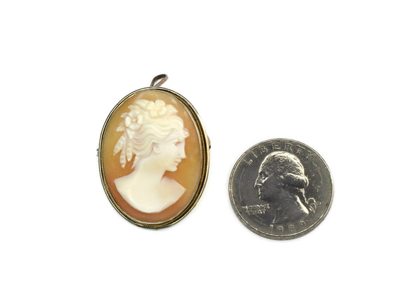 Estate Silver Cameo Brooch or Pendant 800 Silver Antique