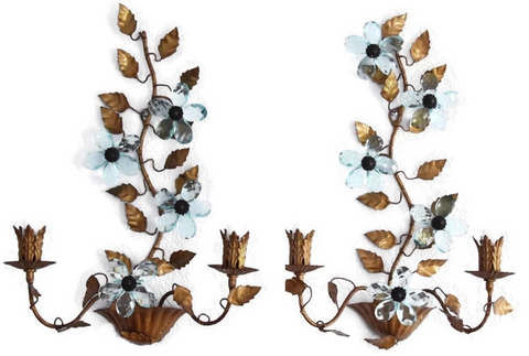 Hollywood Regency Blue Italian Glass Flower Sconces - Premier Estate Gallery
