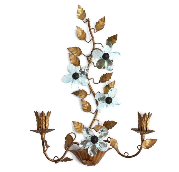 Hollywood Regency Blue Italian Glass Flower Sconces - Premier Estate Gallery 3