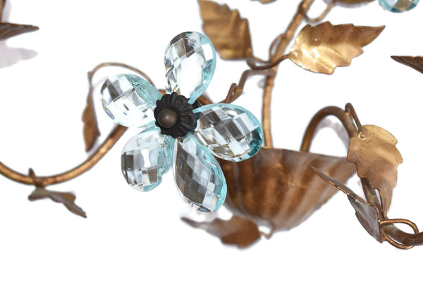 Hollywood Regency Blue Italian Glass Flower Sconces - Premier Estate Gallery 2