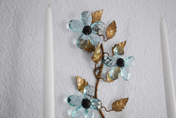 Hollywood Regency Blue Italian Glass Flower Sconces Gold and Blue