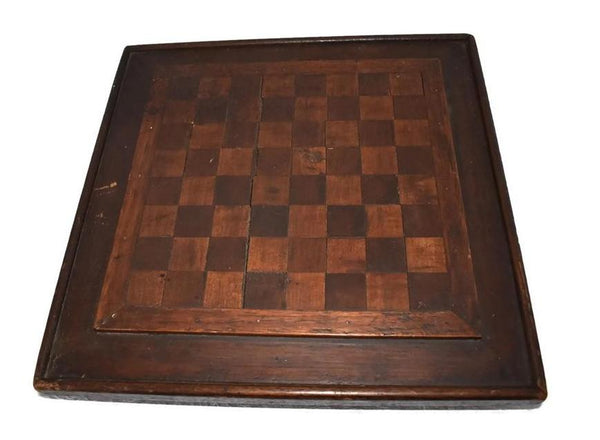 Primitive Folk Art Inlay Wood Checkerboard Antique Americana Game Board - Premier Estate Gallery