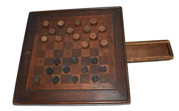 Primitive Folk Art Inlay Wood Checkerboard Antique Americana Game Board - Premier Estate Gallery 2