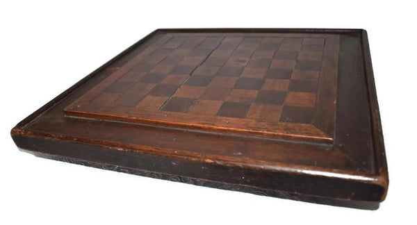 Primitive Folk Art Inlay Wood Checkerboard Antique Americana Game Board - Premier Estate Gallery 4