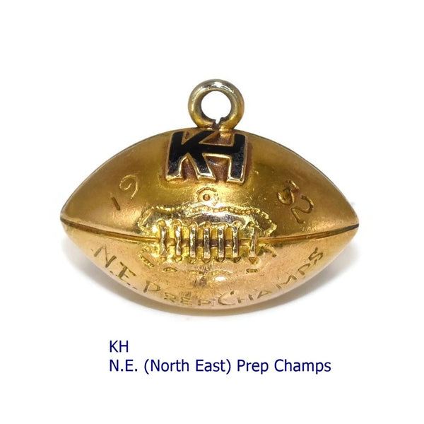 Vintage 10k Football Pendant or Charm 1932 KH Prep Champs Enamel and Gold - Premier Estate Gallery 1
