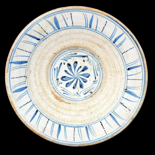1840s English Sponge Cut Decorated Earthenware Bowl Pale Blue and White - Premier Estate Gallery