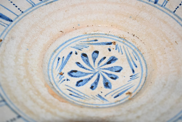 1840s English Sponge Cut Decorated Earthenware Bowl Pale Blue and White - Premier Estate Gallery 2