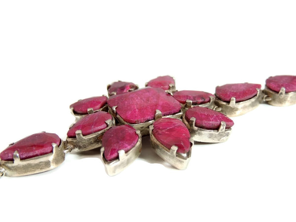 Opaque Ruby Flower Bracelet 86 Carats Silver Boho Style