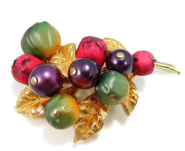 Vintage Berry ART Brooch Purple Green Berry Big 1960s