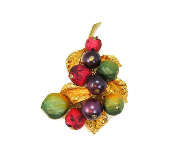 Vintage Fruit ART Brooch Purple Green Berry Big 1960s - Premier Estate Gallery  - 2