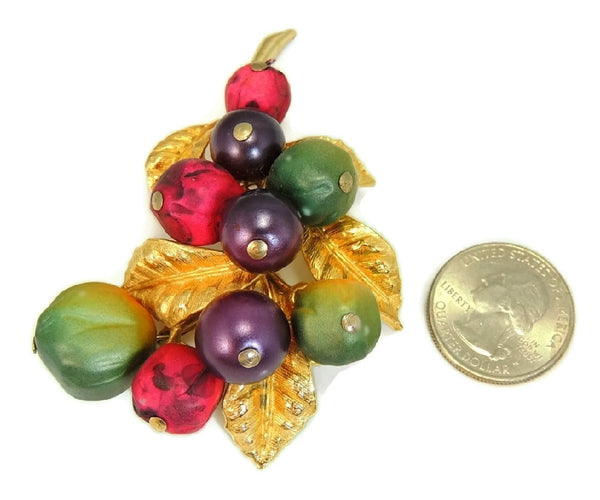 Vintage Fruit ART Brooch Purple Green Berry Big 1960s - Premier Estate Gallery  - 3