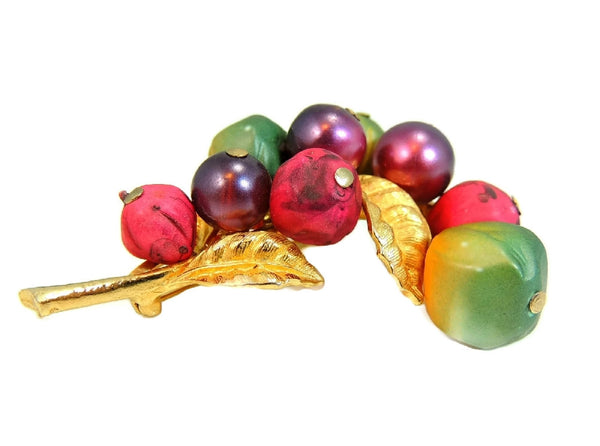 Vintage Fruit ART Brooch Purple Green Berry Big 1960s - Premier Estate Gallery  - 5