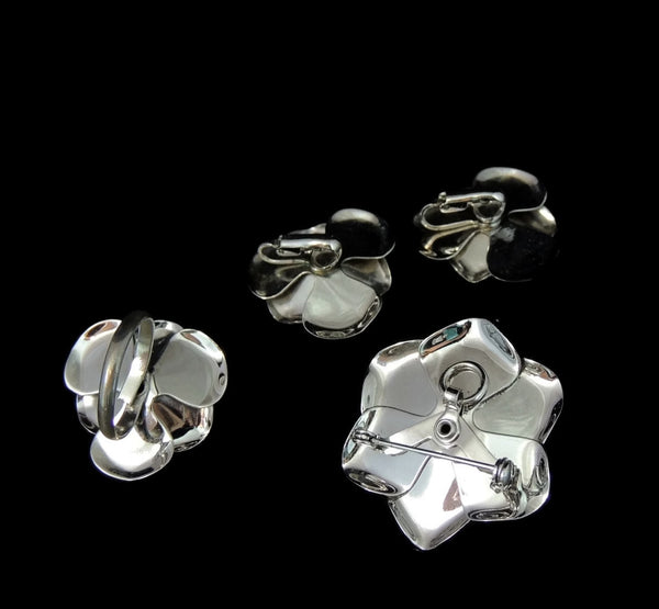 Silver Rhinestone 3 pc Jewelry Set 1960s Retro Glamour - Premier Estate Gallery  - 5