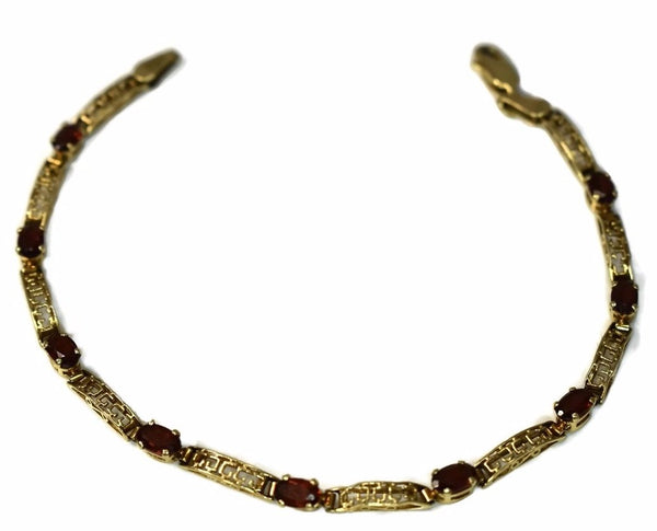 Vintage 10k Gold Garnet Tennis Bracelet Ornate Gold Links