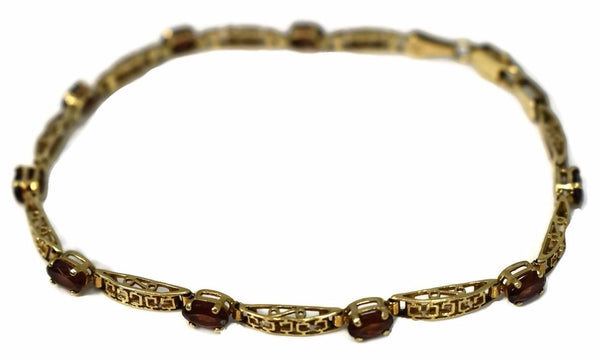 Vintage 10k Gold Garnet Tennis Bracelet Ornate Gold Links - Premier Estate Gallery  3