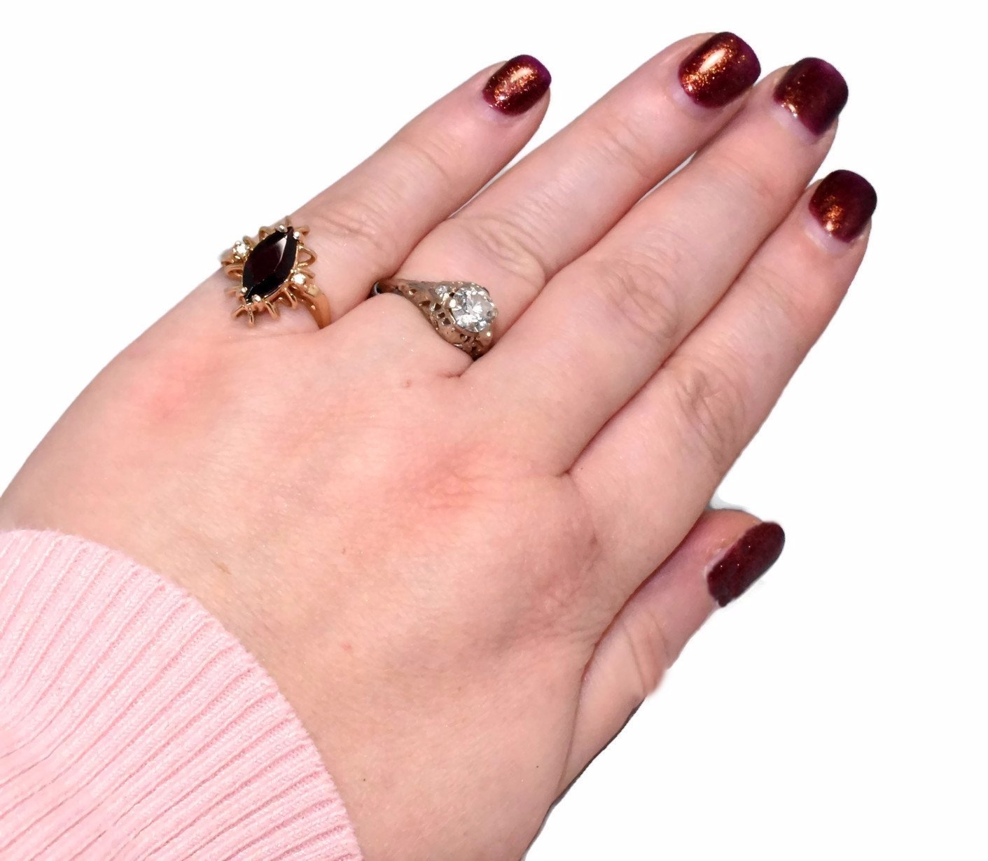 14k Gold Almandine Garnet Ring with Diamond Accents Vintage c1950 ...