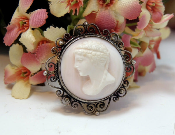 Victorian Cameo Brooch Pink Conch Late Victorian Cameo - Premier Estate Gallery  - 5