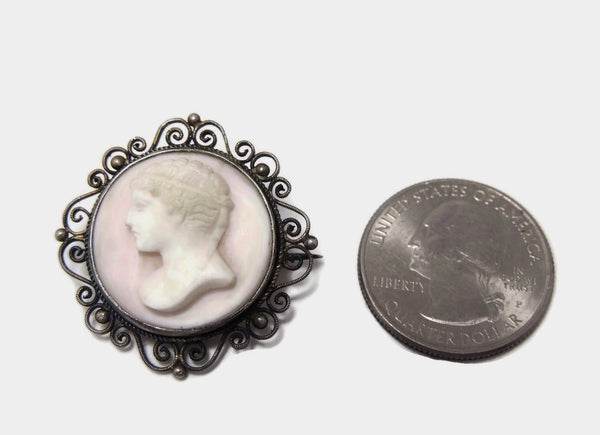 Victorian Cameo Brooch Pink Conch Late Victorian Cameo - Premier Estate Gallery  - 4
