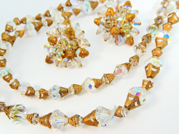 Vintage Crystal Necklace Earring Set Filigree End Caps Glamorous
