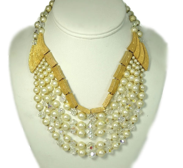 Vintage Runway Cascading Necklace Multi Strand Iridescent Beads and Faux Pearls - Premier Estate Gallery  - 2