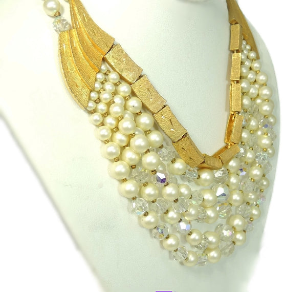 Vintage Runway Cascading Necklace Multi Strand Iridescent Beads and Faux Pearls - Premier Estate Gallery  - 3