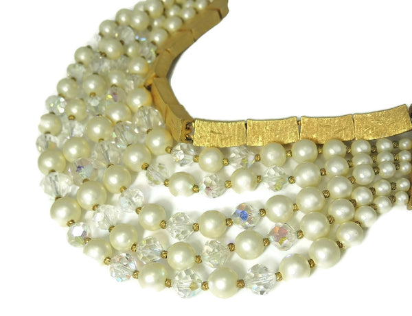 Vintage Runway Cascading Necklace Multi Strand Iridescent Beads and Faux Pearls - Premier Estate Gallery  - 5