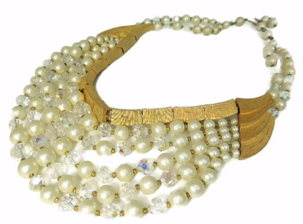 Vintage Runway Cascading Necklace Multi Strand Iridescent Beads and Faux Pearls - Premier Estate Gallery  - 1