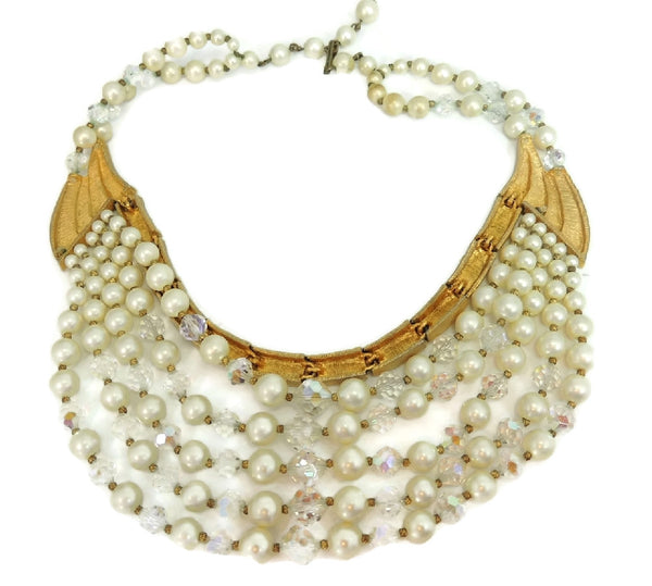 Vintage Runway Cascading Necklace Multi Strand Iridescent Beads and Faux Pearls
