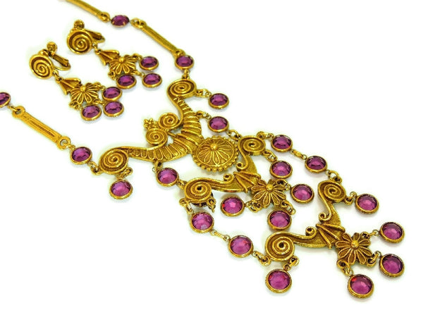 Haute Couture Egyptian Style Jewelry Set Purple Vintage